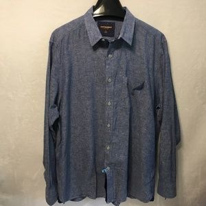 JOHNSTON & MURPHY Sz XL Blue Button Up Dress Shirt